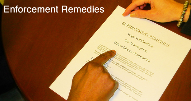 Photo of someone handing over a paper with list of enforcement remedies